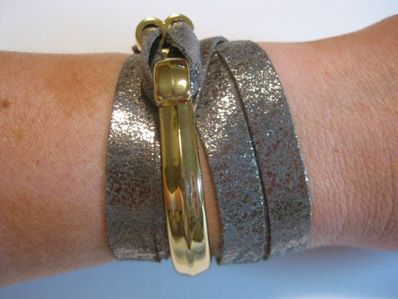 Handmade Metallic leather wrap around bracelet with beautiful solid gold half hook clasp