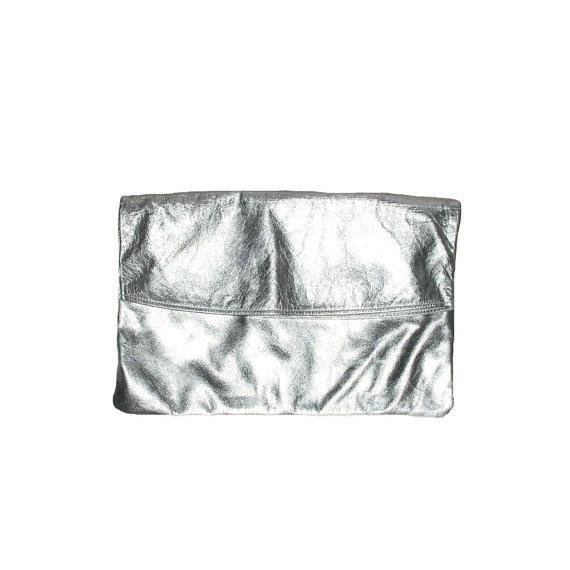 80's Vintage Silver Metallic Clutch