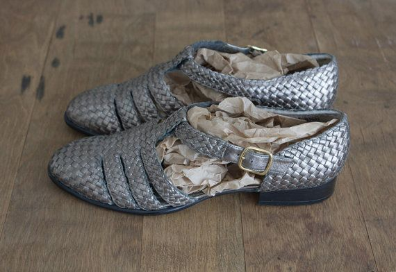 Vintage 1980's Metallic Woven Leather T-Strap Shoes