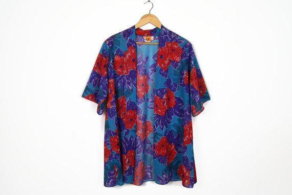70'a Vintage Floral Hawaiian Print Open Kimono