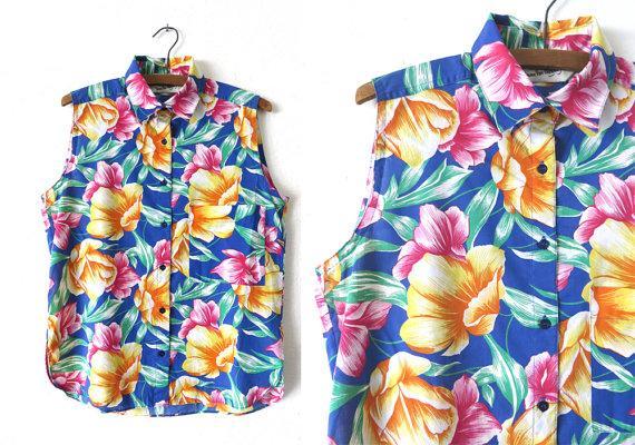 Vintage DVF Floral Print Sleeveless Shirt