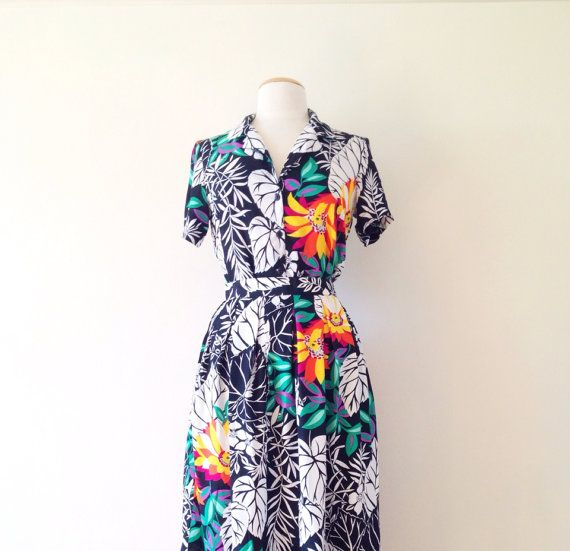 Vintage 1980's Tropical Print Two Piece Skirt and Shirt