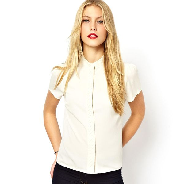 ASOS Blouse with Pleated Collar and Placket