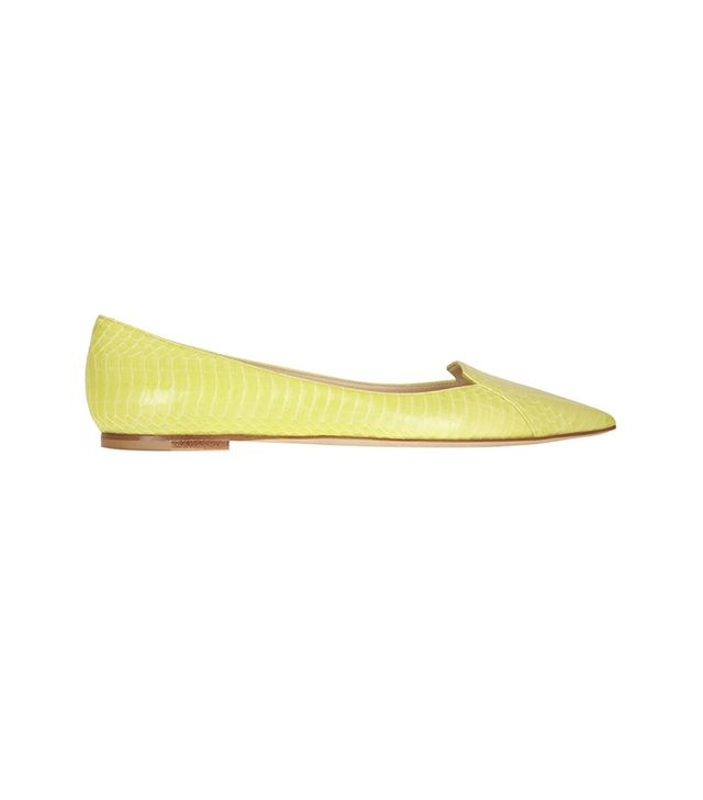 Jimmy Choo Attila Elaphe Point-Toe Flats ($795) in Yellow  Make your Monday morning a bit brighter with these vibrant flats.