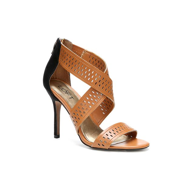 LOFT Analise Perforated Cross Strap Heels