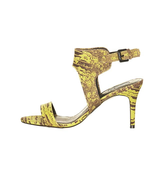 Topshop Naked Back Buckle Mid Shoes ($70)in Green  Test out these printed heels!