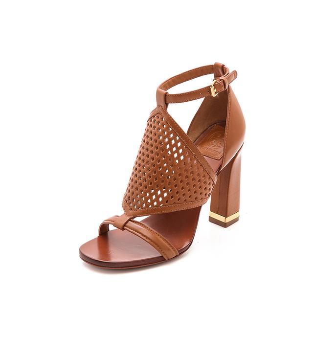 Tory Burch Doris High Heel Sandals ($228) in Tan  Perforated sandals—a summertime essential.