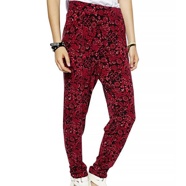 ASOS Peg Pants in Oxblood Oriental Print