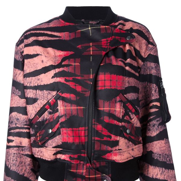MCQ by Alexander McQueen Tiger & Tartan Plaid Satin Bomber Jacket