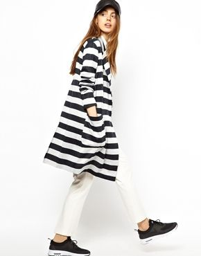 ASOS Coat in Light Weight Stripe