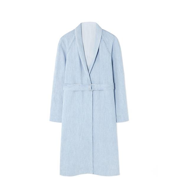 Cos Denim Wrap Tie Coat
