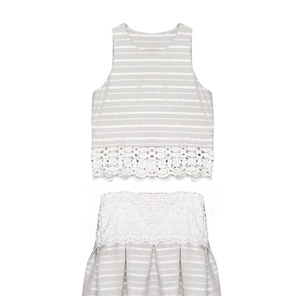 Pixie Market Stripe Lace Matching Separates