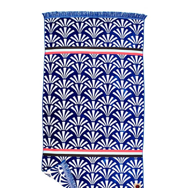 Ruby Mint Seafan Blue and White Patterned Towel