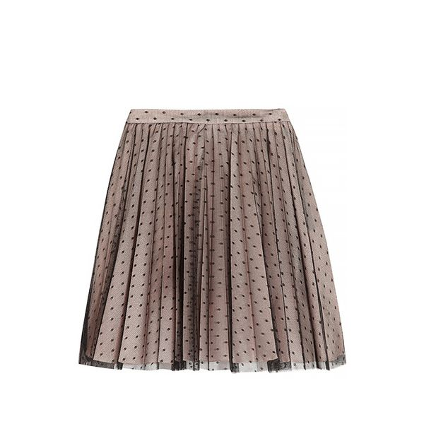 RED Valentino Pleated Point D'esprit And Satin Skirt