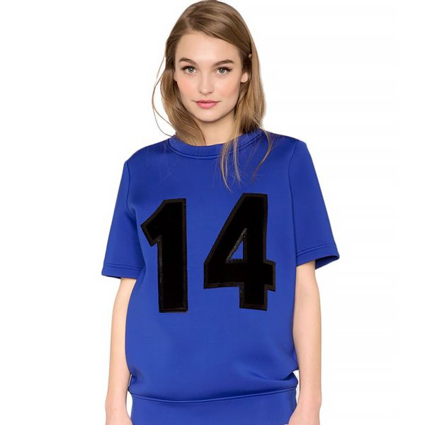 Pixie Market Blue Varsity Neoprene Top