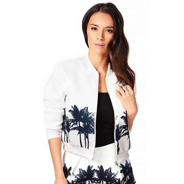 MissGuided Kiana Neoprene Palm Tree Print Bomber Jacket