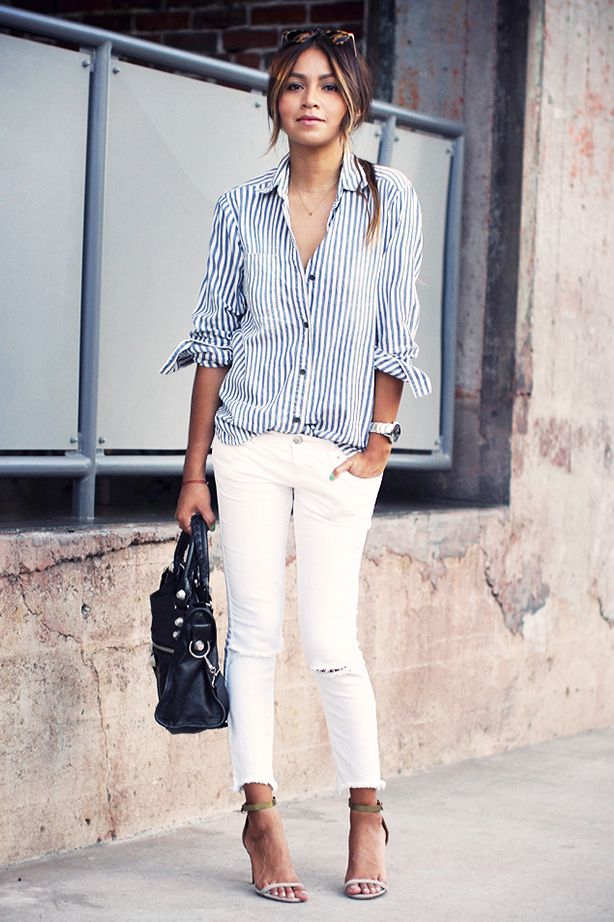 Striped Button Down Blouse White Jeans Get The Look Equipment Gavin