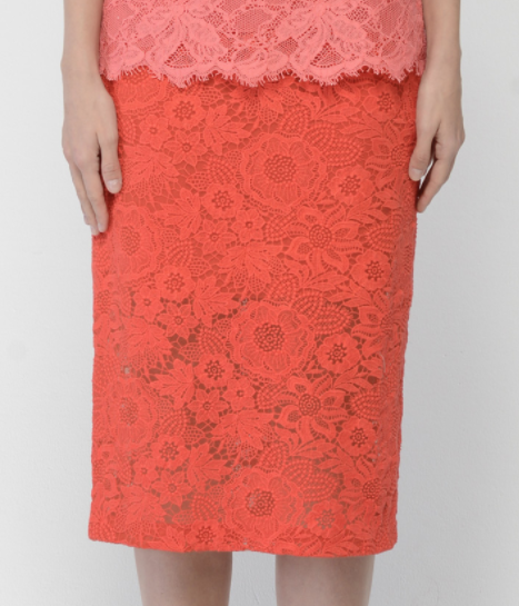 Monique Lhuillier Guipure Lace Midi Pencil Skirt