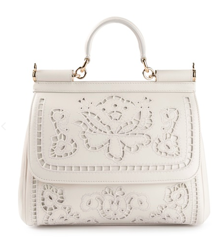 Dolce & Gabbana White Floral Embroidered Sicily Tote