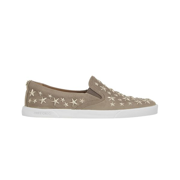 Jimmy Choo Demi Embellished Lizard-Effect Leather Slip-On Sneakers