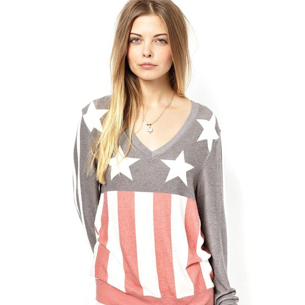 Wildfox Baggy Bleach Sweater With Stars & Stripes