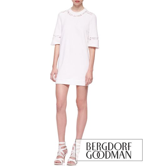 Rebecca Taylor Lace-Inset Sweatshirt Tunic Dress