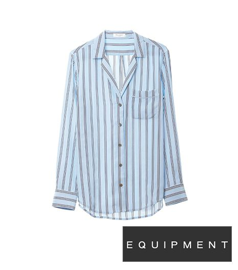 Equipment Keira Periwinkle Blue City Stripe Print
