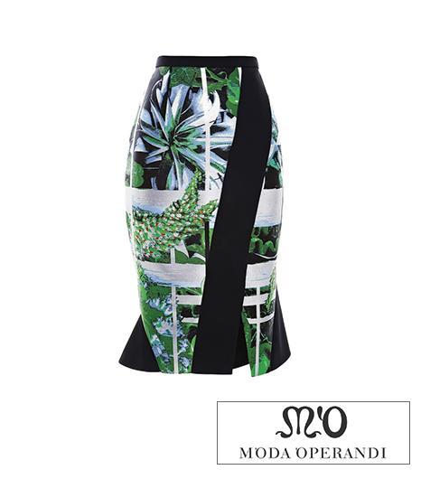 Peter Pilotto Jane Ikebana-Printed Flounce-Hem Jacquard Skirt
