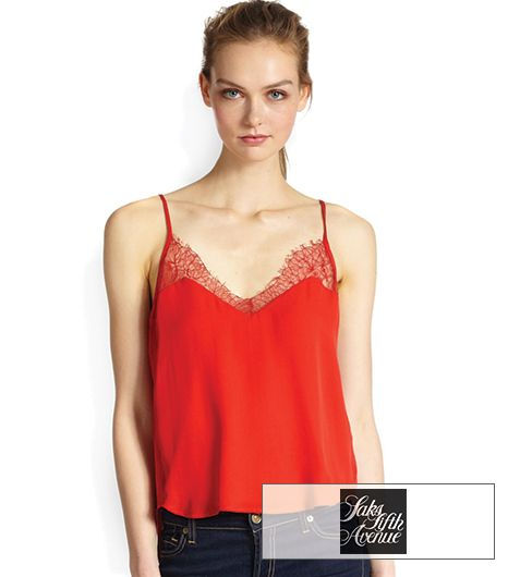 Mason by Michelle Mason Lace & Silk Cami Top