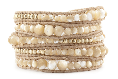 Chan Luu Natural Mother of Pearl Graduated Wrap Bracelet