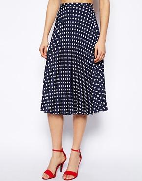 ASOS Spot Pleat Midi Skirt