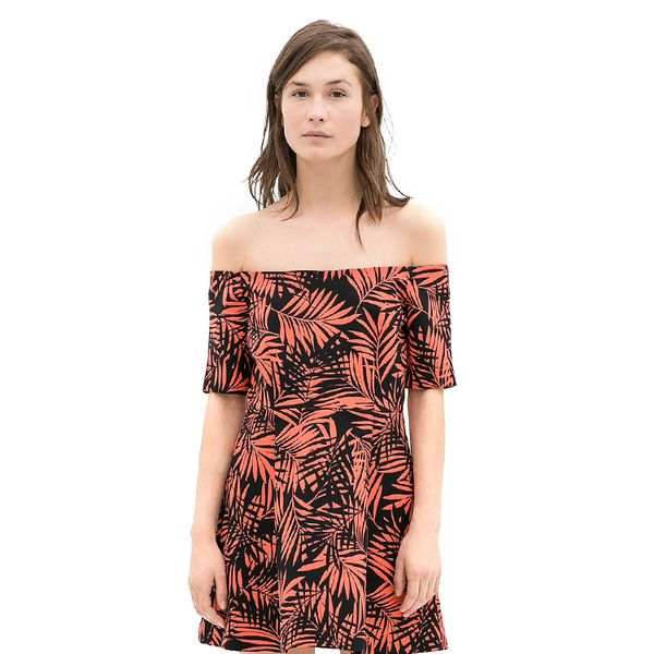 Zara Printed Off-Shoulder Dress