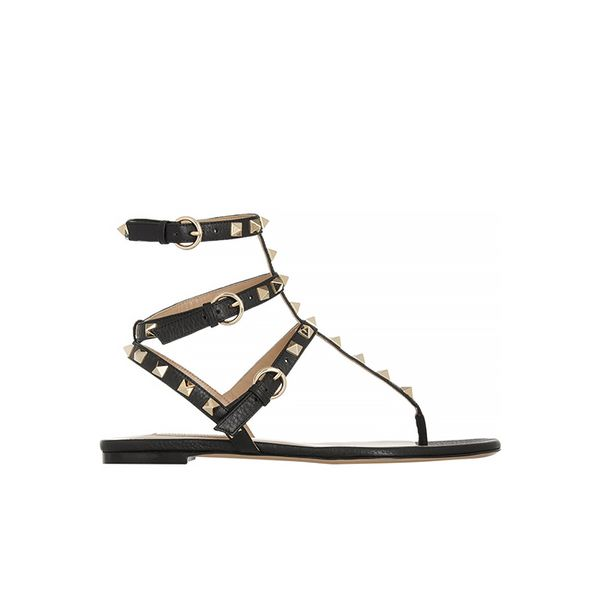 Valentino Rockstud Textured-Leather Sandals