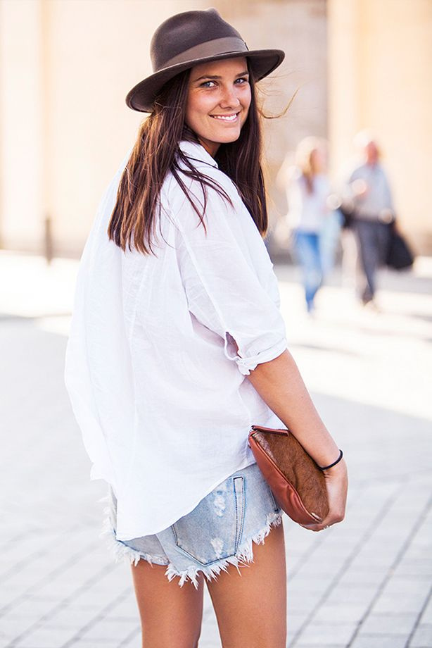 Frayed Jean Shorts + Oversized White Button-Down Shirt