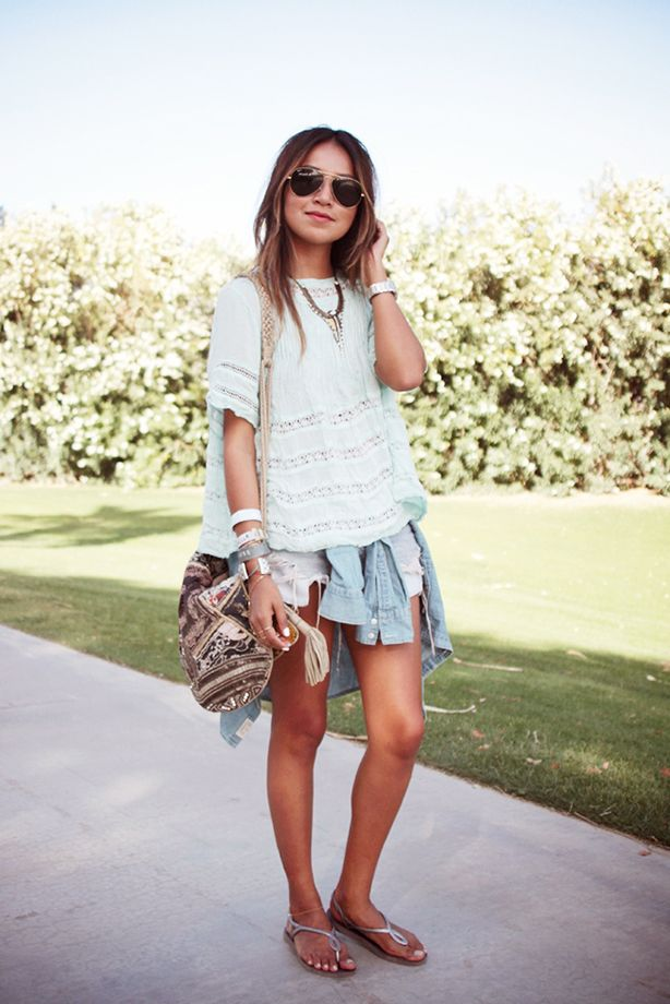Distressed Cutoff Shorts + Casual Lace Top