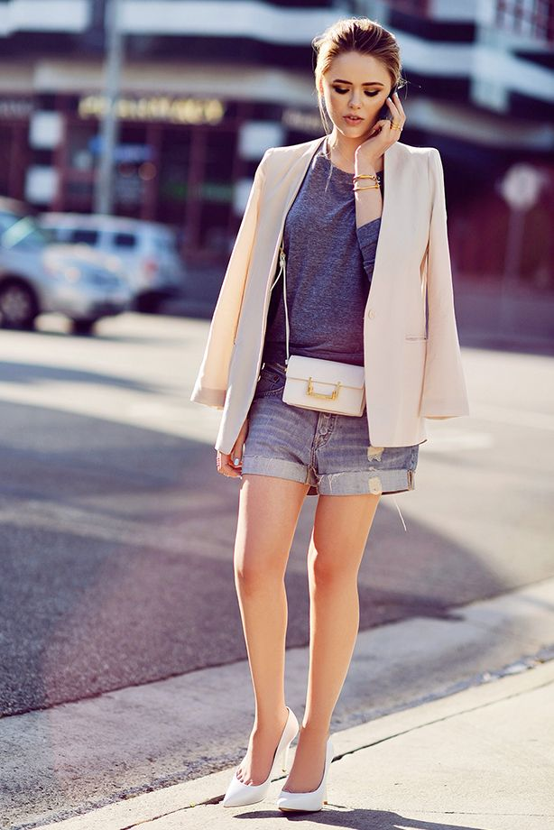 Boyfriend-Fit Jeans Shorts + Structured Blazer
