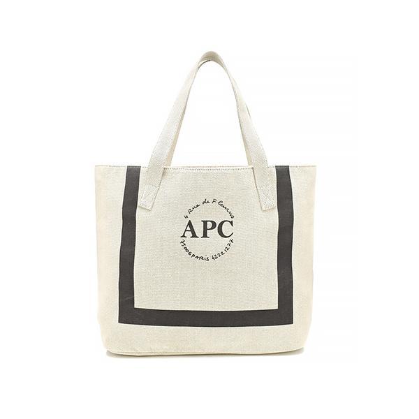 A.P.C. Beige Cotton Logo Beach Bag