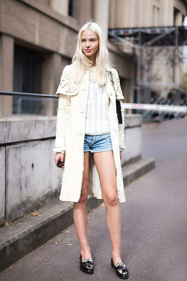 Light-Wash Denim Shorts + Lightweight Long Jacket
