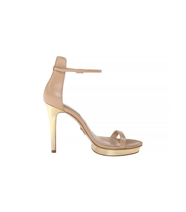 Michael Kors Collection Doris Heeled Sandals ($395) in Toffee Smooth Calf