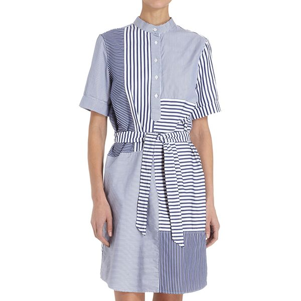 Band of Outsiders Patchwork Short Sleeve Shirtdress