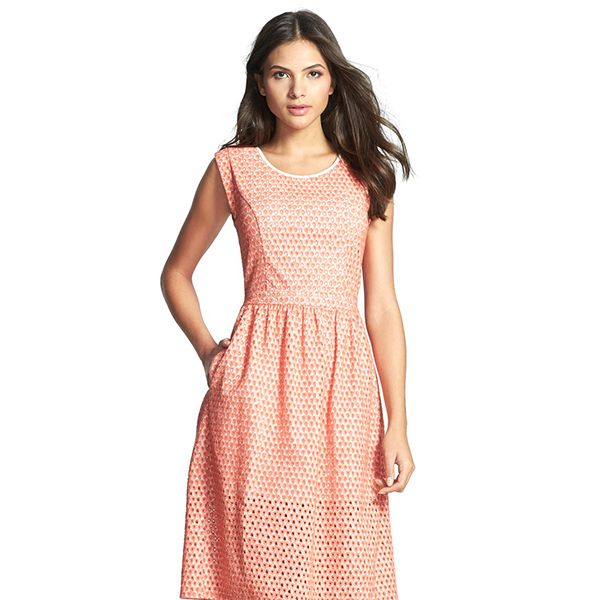 Rebecca Minkoff Shelly Embroidered Cotton Fit & Flare Dress