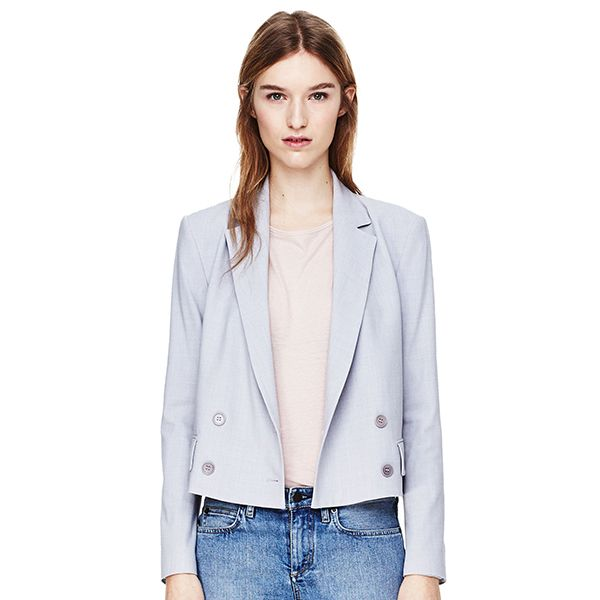 Theory Cropped Jacket in Wool Poplin