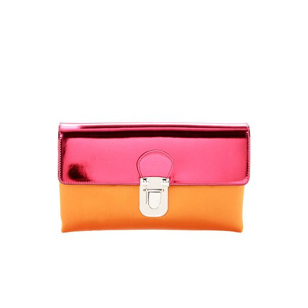 Marni Edition Satin and Metallic-Leather Clutch