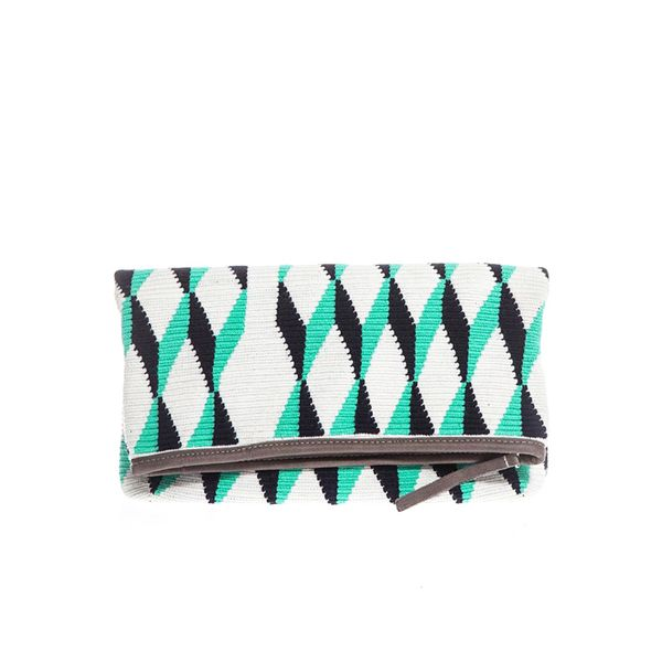 Sophie Anderson Katia Diamond Woven-Cotton Clutch