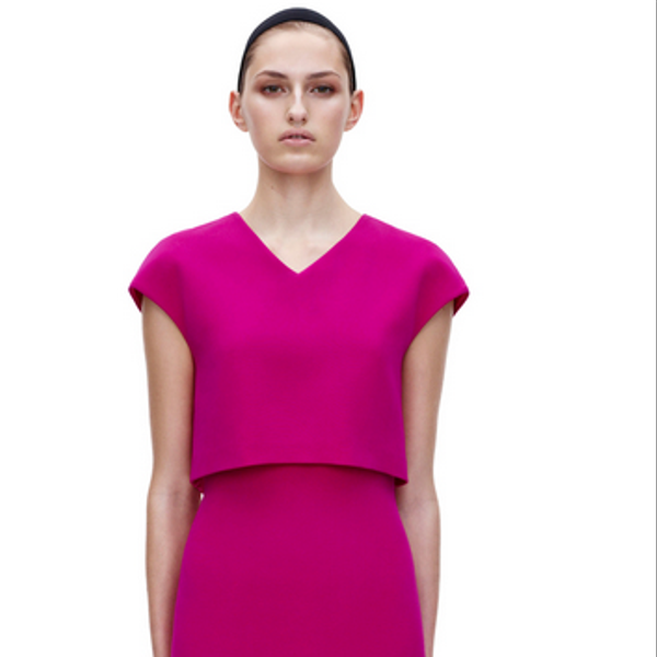 Victoria Beckham V Neck Cropped Fitted Dress