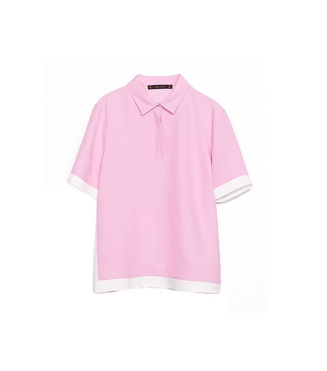 Zara Two-Tone Polo Shirt ($60) in Pink