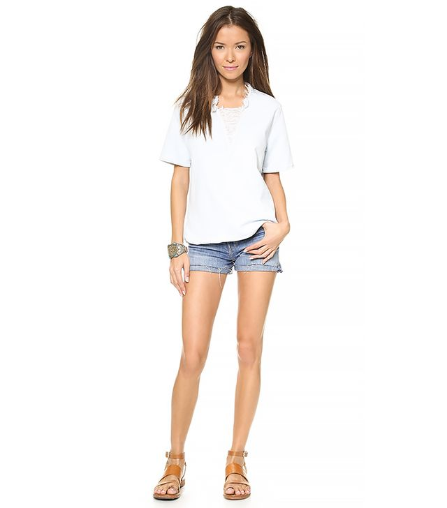 Current/Elliott The Raw Edge Top ($188) in Summer Storm
