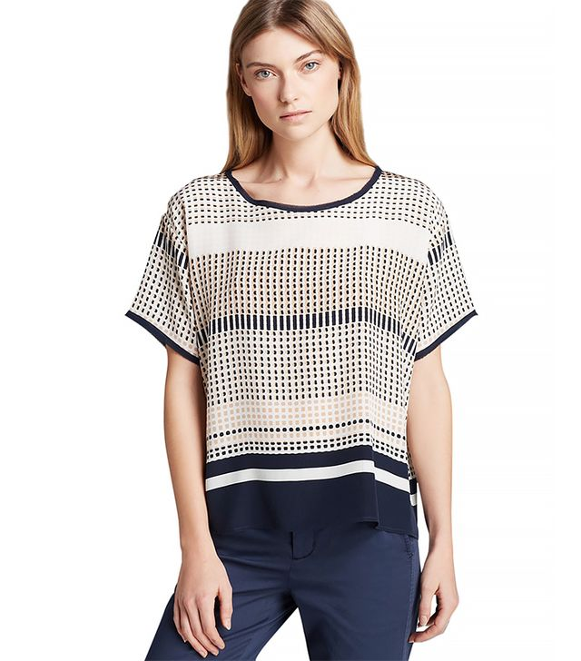 Vince Geometric Print Silk Tee ($265) in Coastal Combo