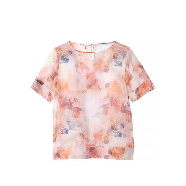 Rebecca Taylor Short Sleeve Enchanted Garden Voile Tee