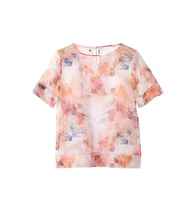 Rebecca Taylor Short Sleeve Enchanted Garden Voile Tee ($250) in Melon Combo